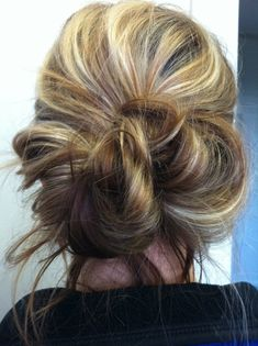 messy bun hairstyle love the colors too!