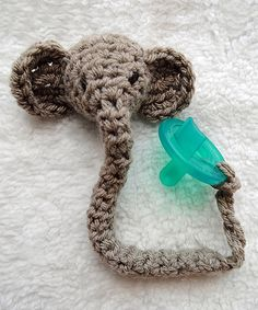 This Gray Elephant Pacifier Clip by Maddie's Mad Hatters is perfect! #zulilyfinds