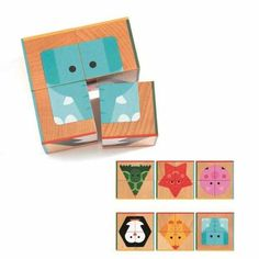 Cuburi din lemn basic Djeco Wooden Block Puzzle, Wooden Puzzles, Wooden Blocks, Pet Toys, Kids Toys, Animal Puzzle, Wooden Cubes, Learning Shapes, Colorful Animals