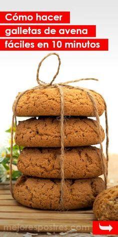 Cómo hacer galletas de avena fáciles en 10 minutos #galletas #galletasdeavena #recetasdegalletas #recetasfáciles #recetasrápidas Bakery Recipes, Cookie Recipes, Snack Recipes, Healthy Recipes, Cooking Cookies, Coconut Cookies, Healthy Sweets, Desert Recipes, Sin Gluten