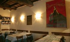 Ditirambo  This small restaurant near Campo dei Fiori is lively and inviting with its beamed ceilings and stone arches. It is rather dark so it's best in the heat of summer or when the weather is bleak outside. The good varied menu combines Roman specialities