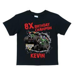 Monster Jam Birthday Champion Black T-shirt - T-Shirts - Clothing | Tv's Toy Box