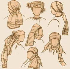 Various Knotted Scarf options (Headcoverings / Wraps) - for the Southern complex of Russian costumes Historical Costume, Historical Clothing, Joseph Costume, Biblical Costumes, Nativity Costumes, Viking Clothing, Russian Folk, Russian Fashion, Folk Costume
