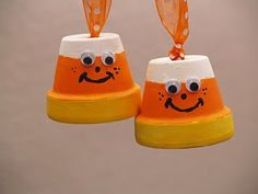 clay pot fall crafts | Decorate your Halloween trees or any little shelf with these charming ...
