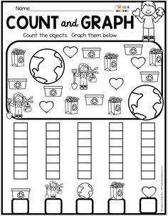 EARTH DAY Count and Graph - All About Planet Earth for Kindergarten and First Grade Activities