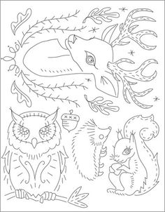 Forest Friends Embroidery Patterns by sublime stitching. want to use squirrel on dress for Mad.