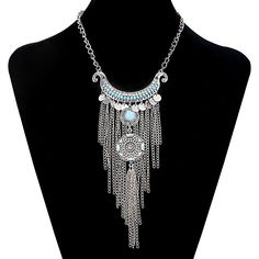 Style 10: Turquoise Beads Chain Tassle Long Boho Gypsy Style Statement Necklace