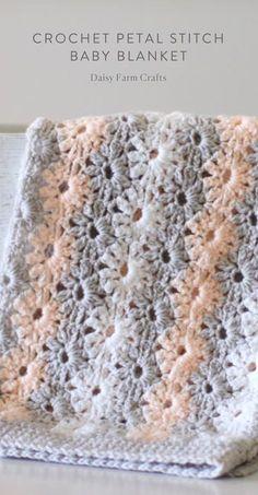 Modify to super scarf Free Pattern - Crochet Petal Stitch Baby Blanket by Chalkymac Walker Crochet Afghans, Crochet Baby Blanket Beginner, Crochet Blanket Patterns, Crochet Stitches, Crocheted Baby Blankets, Afghan Patterns, Baby Patterns, Baby Blanket Knitting Pattern Free, Baby Girl Crochet Blanket