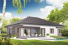 Projekt domu Eris II (wersja C) energo Modern Bungalow Exterior, Modern Bungalow House, Bungalow House Plans, Modern House Plans, Home Building Design, Building A House, Free House Plans, Building Costs, Cottage Plan