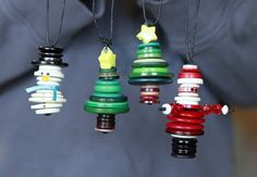 Button ornaments -- would be cute to add to tags on presents!...