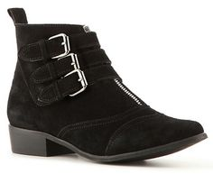 "Zigi Soho ""Lead"" Buckle Zip Ankle Boots in black suede (Tabitha Simmons Early knockoffs)"