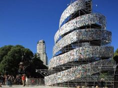 Tower-of Babel-books. 30,000 books make up this spiral. The art installation is in Argentina.