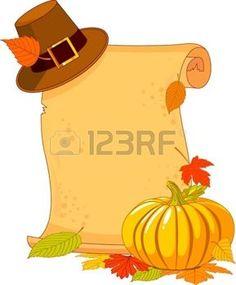dibujos de hojas de otoño: Día de Acción de Gracias de desplazamiento con sombrero de peregrino y la calabaza