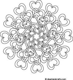 Adult Coloring Books & Designs: Challenging Tangled Hearts Coloring Page