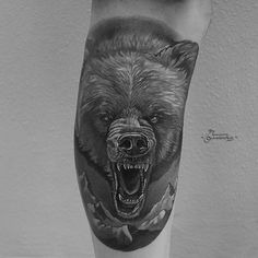 Angry Bear tattoo by Gollandets Art