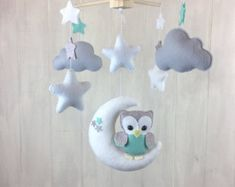 Baby mobile  cloud mobile  moon clouds mobile  yellow and