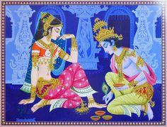 Krishna Applying Alta to Radha's Feet (Reprint on Paper - Unframed)