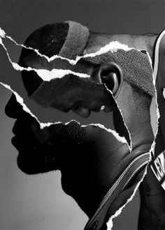 Who - Lebron  What - a portrait collage of Lebron   How - i think this collage had a silhouette base to begin with the gradually layers were torn and added to create separate images  Why - I chose this collage because i ilke the uses techniques used to create this collage , the fact that it looks like someone has torn a layer and exposed underneath