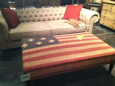 How about this American flag upholstered ottoman? Love it of Leave it |Houston, TX| Gallery Furniture|