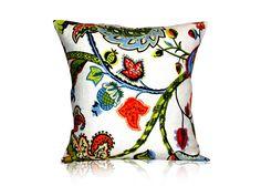 Pillow Cover throw pillow sofa pillow decorative pillow Wilmington Multicolor Jacobean Designer Pillow Cover  18x18 inches on Etsy, $27.00