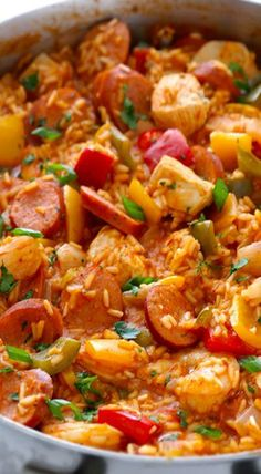 Jambalaya- it turned out delicious, next time I will just cut the recipe in half. ( and a little less spice for Chris') pasta cajun Jambalaya Recipe Cajun Recipes, Seafood Recipes, Crockpot Recipes, New Recipes, Chicken Recipes, Dinner Recipes, Cooking Recipes, Favorite Recipes, Healthy Recipes