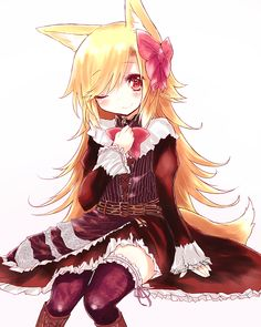 akane_(naomi) animal_ears black_legwear blonde_hair bow dress fox_ears fox_tail garters hair_bow hand_on_own_chest hand_to_chest long_hair long_sleeves naomi_(sekai_no_hate_no_kissaten) original red_eyes simple_background sitting sleeves_past_wrists smile solo tail thighhighs white_background wink