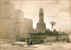 Babü'l-Nasr ve Hâkim Minaresi (Mısır, Kahire)-David Roberts (Suluboya Yy.