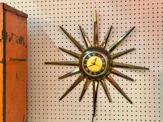 1950's Electric Starburst Clock   Works!  $195  Mid Century Dallas Booth 766  Lula B's 1010 N. Riverfront Blvd. Dallas, TX 75207