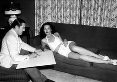 hedy lamarr being drawn by alberto vargas  gatabella