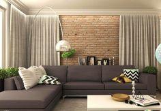 canapé d'angle avec coussins à chevrons, lampadaire design et mur en brique