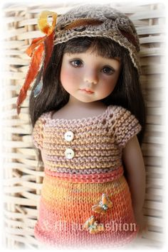 "OOAK Hand Knit Outfit ""Orange Butterflies"" Effner Little Darling 13"" Doll"