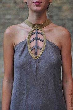 Купить Платье льняное с листом-кулоном KOSTENKO - льняное платье, льняной сарафан, Эко мода