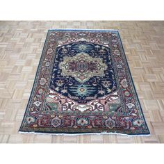 Hand Knotted Blue Serapi Heriz with Oriental Rug