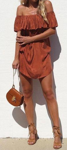 Rust Off The Shoulder Dress Source