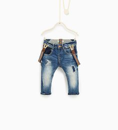 Image 1 of Jeans with braces from Zara Baby Jeans, Denim Jeans Men, Baby Boy Fashion, Kids Fashion, Suspenders For Kids, Braces Suspenders, Suspender Jeans, Winter Baby Boy, Baby Boy Swag