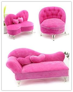 Pink couches- How cute! Dollhouse Dolls, Miniature Dolls, Dollhouse Miniatures, Miniature Tutorials, Diy Barbie Furniture, Dollhouse Furniture, Furniture Sets, Barbie Doll House, Barbie Dolls