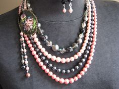 Vintage Layered Necklace Vintage Pearl and by JenniferJonesJewelry, $75.00
