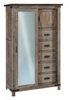 Amish Ironwood Sliding Door Chifferobe Enjoy a variety of storage options for bedroom with the Ironwood Chifferobe. A sliding door, a cabinet, drawers and shelves all offer space to stow items. Features a rustic look with rough sawn brown maple wood. #chifferobe #armoire #bedroomstorage