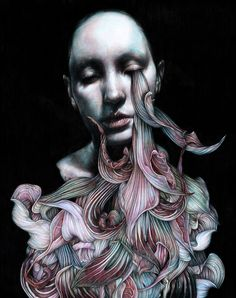 Marco Mazzoni, Madre, Colored pencils on paper, 48 x © Marco Mazzoni. Mental Health Art, Surreal Artwork, Surreal Portraits, Gcse Art, Italian Artist, Pencil Illustration, Illustration Artists, Magazine Art, Dark Art