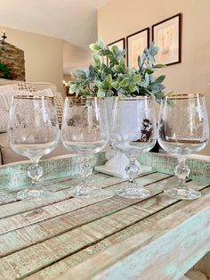 Set of Four Etched Crystal Water Goblets or Large Wine Glass Import Assoc Gold Band Cascade Gold or Gold Lace Cut Ball Stem TYCAALAK