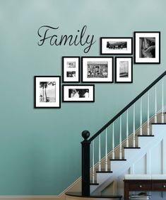 Family - Wall Decal, Vinyl Sticker Cut from premium matte vinyl, it is easy to install and will last Picture Wall Staircase, Gallery Wall Staircase, Staircase Wall Decor, Picture Frames On The Wall Stairs, Decorating Stairway Walls, Stairway Pictures, Display Family Photos, Family Wall Decor, Vinyl Wall Decals