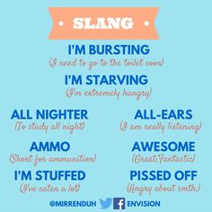 8 Slang Phrases you can use everyday - Get more English tips in the… Slang English, English Phrases, English Idioms, English Writing, English Study, English Grammar, English Vocabulary Words, Learn English Words, Learn Spanish