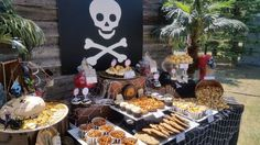 Amazing dessert table at a pirate birthday party! See more party ideas at CatchMyParty.com!