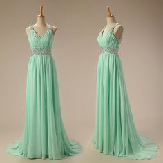 mint prom dresschiffon prom dress long prom dress by UpromDress, $98.00 // gorgeous