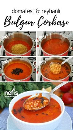 Bulgursuppe mit Tomaten Reyhanli (mit Video) - Leckere Rezepte - Bulgur Soup with Tomato Reyhanli (with video) - Delicious Recipes - detox recipe Yummy Recipes, Soup Recipes, Bulgur Recipes, Turkish Recipes, Ethnic Recipes, Good Food, Yummy Food, Homemade Beauty Products, Chana Masala