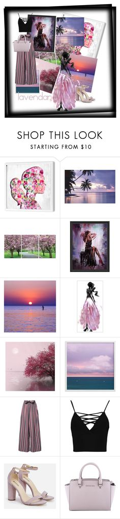 """nothing cares"" by nadialestari99 ❤ liked on Polyvore featuring Oliver Gal Artist Co., PTM Images, Trademark Fine Art, Tome, Boohoo, JustFab and MICHAEL Michael Kors"