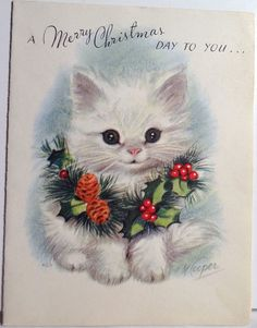 Vintage Christmas Greeting Card ~ Pretty Fluffy White Holiday Kitten