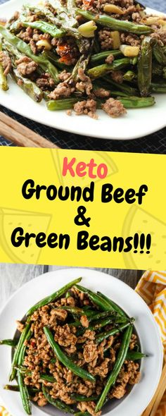 Keto Ground Beef & Green Beans - One of food - my list of delicious and healthy recipes Keto Fast Food, Fast Healthy Meals, Fast Easy Meals, Healthy Recipes, Healthy Snacks, Healthy Eating, Fast Dinner Recipes, Real Food Recipes, Cooking Recipes