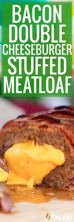 Bacon Double Cheeseburger Stuffed Meatloaf is bursting with bold steak flavors! Just the thought of the ultimate comfort food is just about enough to make my mouth water, but stuffing it with cheese and covering it in the delicious brown sugar ketchup glaze and layered thick cut bacon put this recipe over the top!!! #theslowroasteditalian #tsri #bacon #cheese #cheeseburger #meatloaf #recipe