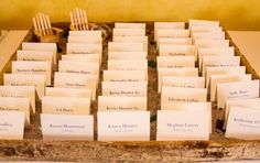 Escort Cards. Boxes made from older lobster trap sliders.